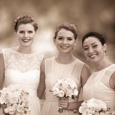 bride and bridesmaids at Paddington wedding