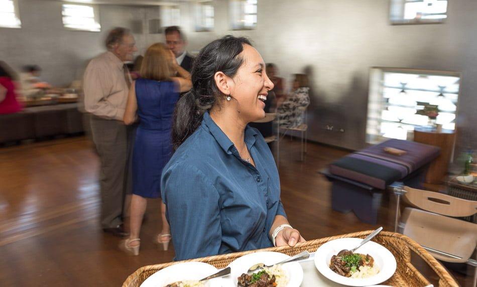 smiling waitress at at Balmoral Bathers Pavilion